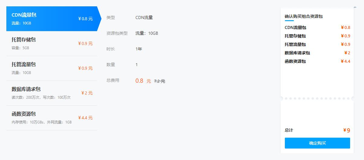 腾讯云云开发组合资源包9元优惠